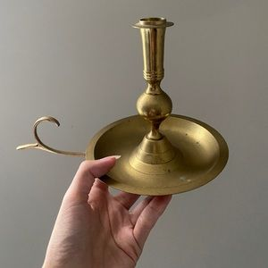 Vintage Brass Chamberstick Candle Holder